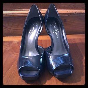 Jessica Simpson Navy Patent Heels